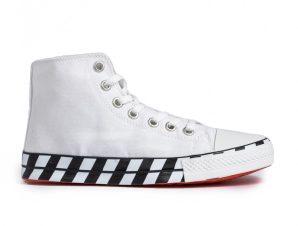 Ανδρικά λευκά ψηλά sneakers με πριντ